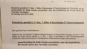 Erlaubnis § 11 Abs. 1 Nr. 8 f Tierschutzgesetz